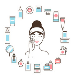 Woman in headband inside circle of cosmetic means vector