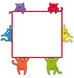 funny cats around a square billboard vector image