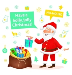 Santa Claus flat character on Christmas background vector image vector image