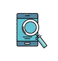 smartphone technology information with magnifying vector image vector image