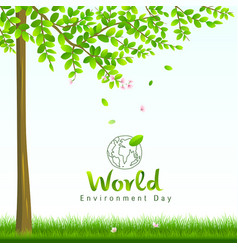 world environment day tree and flower nature vector image vector image