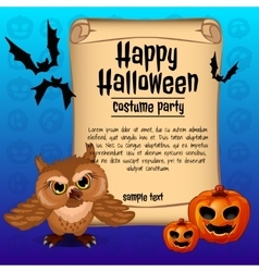 Banner happy Halloween and owl with two pumpkins vector image