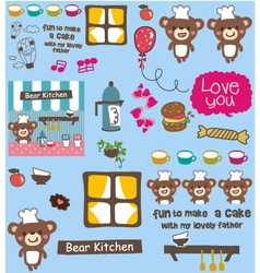 Cute bear cooking pattern vector
