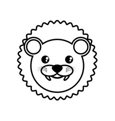 face lion animal outline vector image vector image