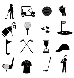 golf sport simple black icons set eps10 vector image vector image