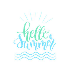 hello summer hand lettering design element vector image