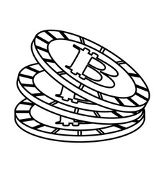 line digital bitcoins currency and electronic vector image vector image