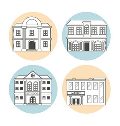 Set differents building house business line vector
