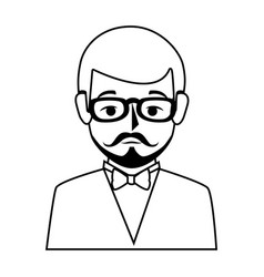 Silhouette half body man formal style with vector