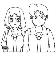 Students girl and boy anime cartoon outline vector