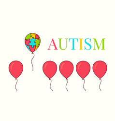 autism awareness balloon poster vector image vector image