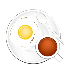 Cup of Coffee with Breakfast Fried Egg vector image
