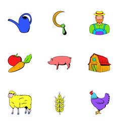 farmer icons set cartoon style vector image vector image