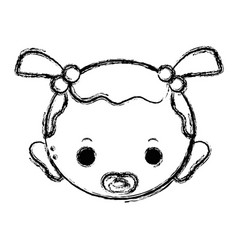 Figure baby girl head with pacifier and hairstyle vector