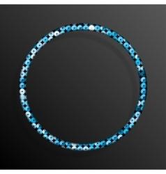 Frame Blue Sequins Circle Glitter sparkle vector image