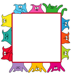 many amusing cats around a square billboard vector image