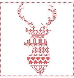 Winter pattern in reeinder head shape vector image vector image
