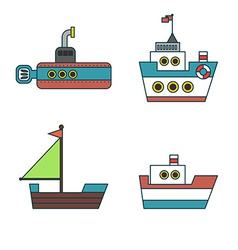 Abstract Ships Thin Line Icons Set vector image
