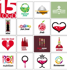 collection of logos of restaurants and cafe vector image vector image