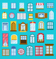 different house opened windows elements vector image