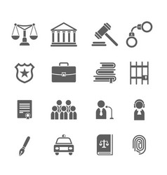 set of black and white law and justice iconsjudge vector image