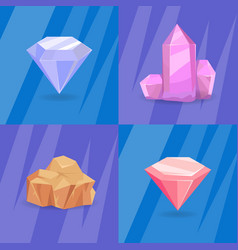 set of crystals and minerals of different shapes vector image