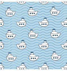 Summer seamless pattern with ship images blue vector image