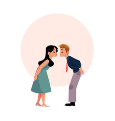 young couple pretending to be kissing going to vector image