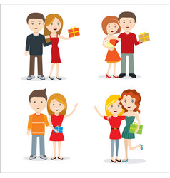 young people with gift flat style design vector image