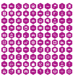 100 auto icons hexagon violet vector image