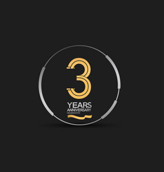 3 years golden anniversary logotype golden number vector