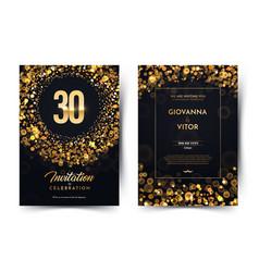30th years birthday black paper luxury vector
