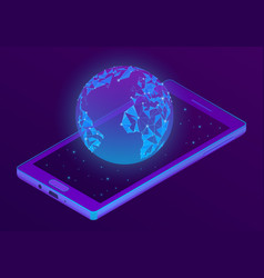 3d isometric smartphone with world hologram vector