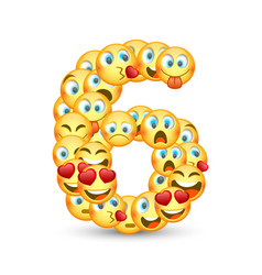 A set emoticons shaped as six number vector