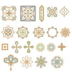Arabic geometric shapes elements set vector