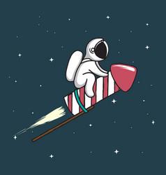 baby astronaut flying on firework rocket vector image