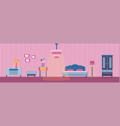 Bedroom and its furniture vector