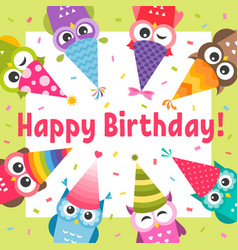 birthday card with cute cartoon colorful owls vector image