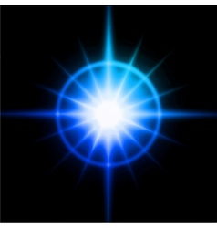 Blue luminous star Lens flare effect vector image