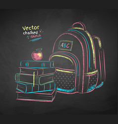 books and school bag vector image