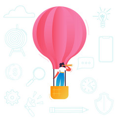 business woman flying on a hot air balloon vector image