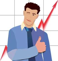 businessman winks thumbs up with red graph up vector image