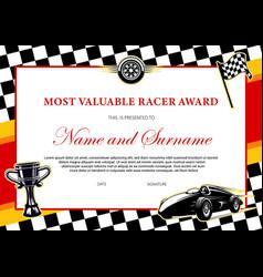 Car racing winner certificate races diploma award vector