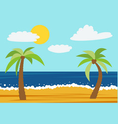 cartoon nature landscape with two palms vector image