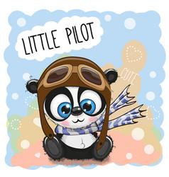 Cartoon panda in a pilot hat vector