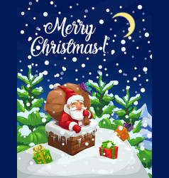 christmas poster santa with gifts bag in chimney vector image
