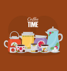 Coffee time - coffee maker and cups set flower vector
