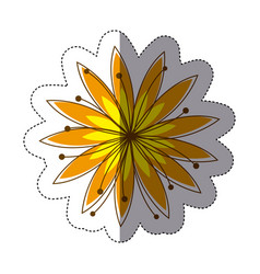 Color sticker silhouette with yellow flower vector