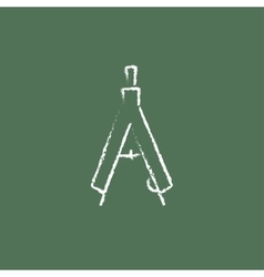 Compass icon drawn in chalk vector