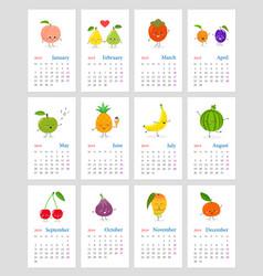 Cute monthly fruit calendar 2019 vector
